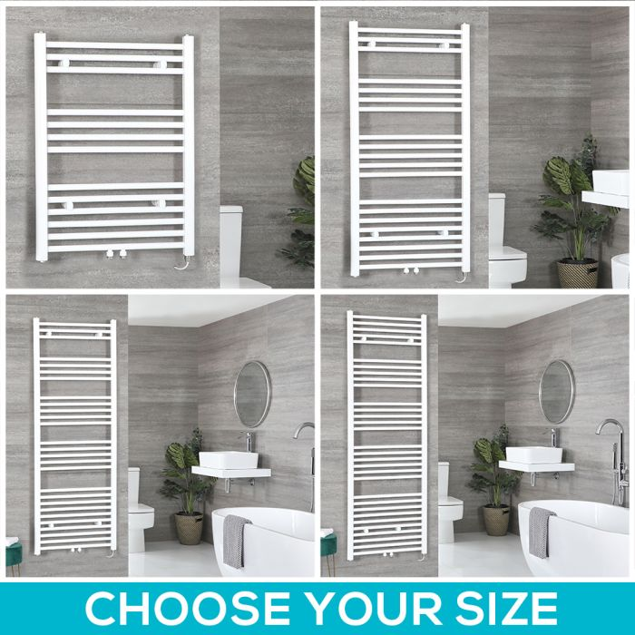 Neva Electric - White Flat Towel Warmer - Choice of Size