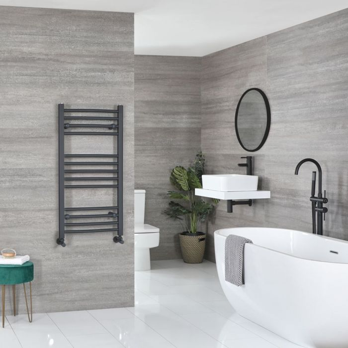 """Artle - Anthracite Hydronic Curved Towel Warmer - 39 3/8"""" x 19 5/8"""""""