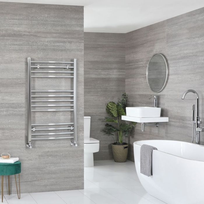 """Kent - Chrome Hydronic Curved Towel Warmer - 39 3/8"""" x 19 5/8"""""""