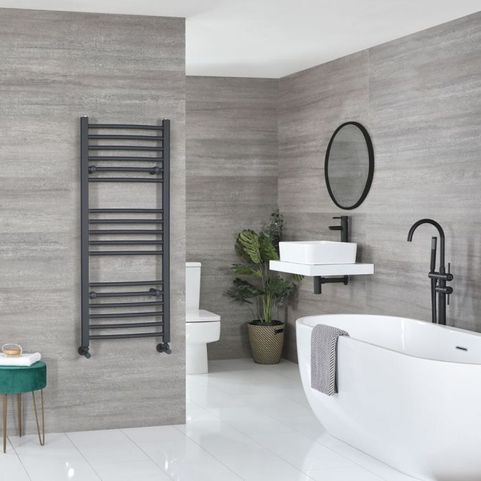 """Artle - Anthracite Hydronic Curved Towel Warmer - 47 1/4"""" x 19 5/8"""""""