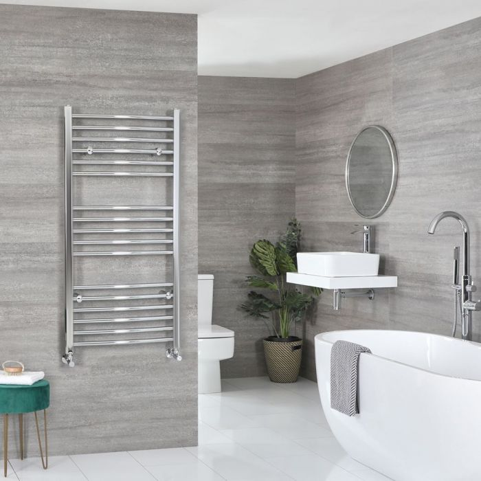 "Kent - Chrome Hydronic Curved Towel Warmer – 47 1/4"" x 19 5/8"""