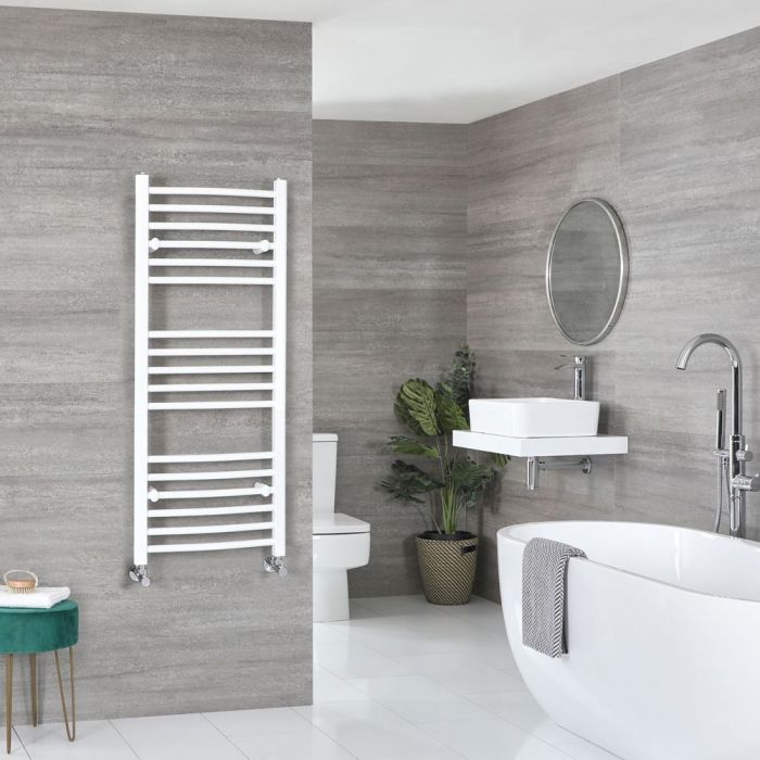 """Ive - White Hydronic Curved Towel Warmer - 47 1/4"""" x 19 5/8"""""""