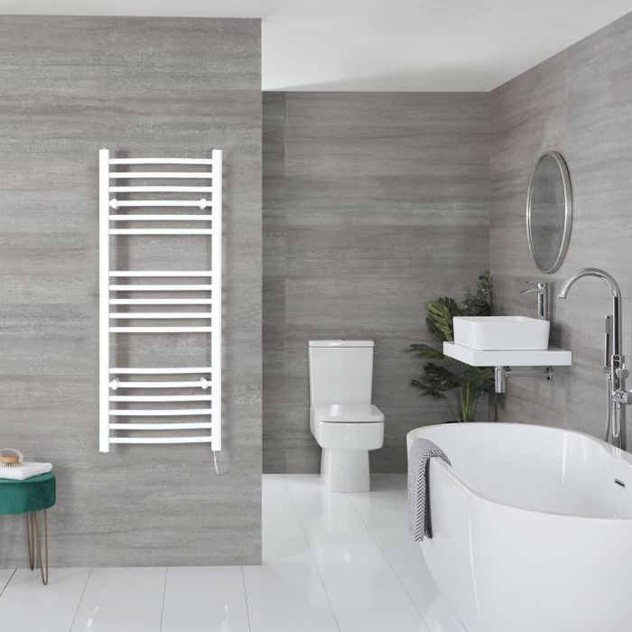 """Ive Electric - White Curved Towel Warmer - 47"""" x 20"""""""