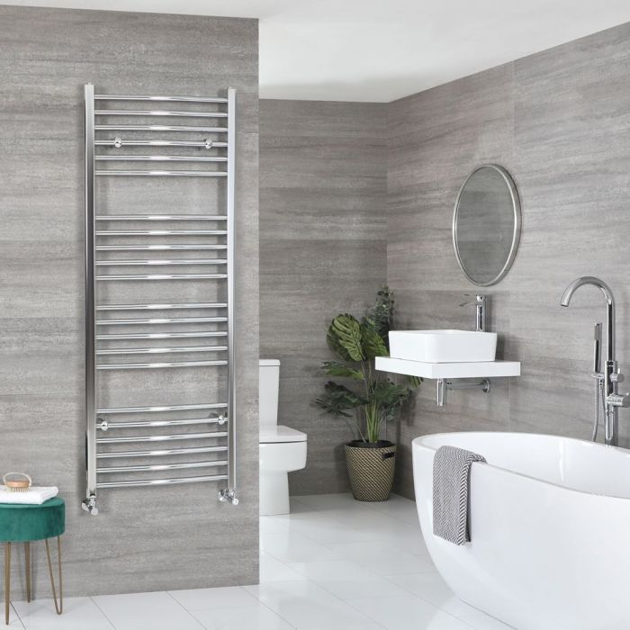 "Kent - Chrome Hydronic Curved Towel Warmer – 63"" x 19 5/8"""