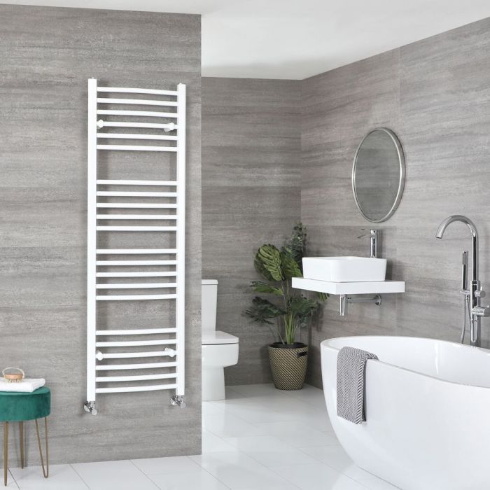 """Ive - White Hydronic Curved Towel Warmer – 63"""" x 19 5/8"""""""