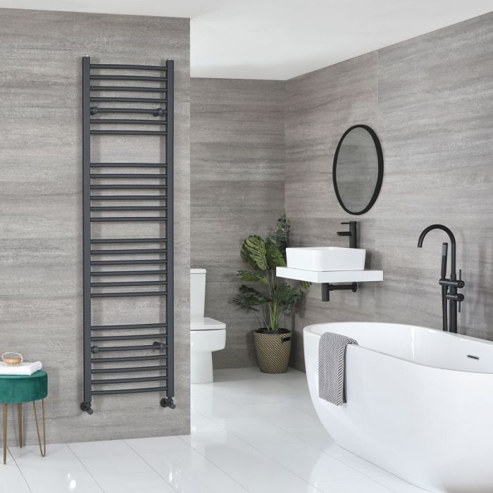 "Artle - Anthracite Hydronic Curved Towel Warmer - 70 7/8"" x 19 5/8"""