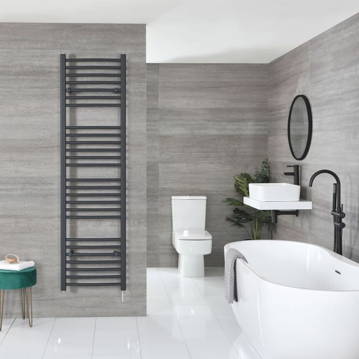 """Artle Electric - Anthracite Curved Towel Warmer - 71"""" x 20"""""""