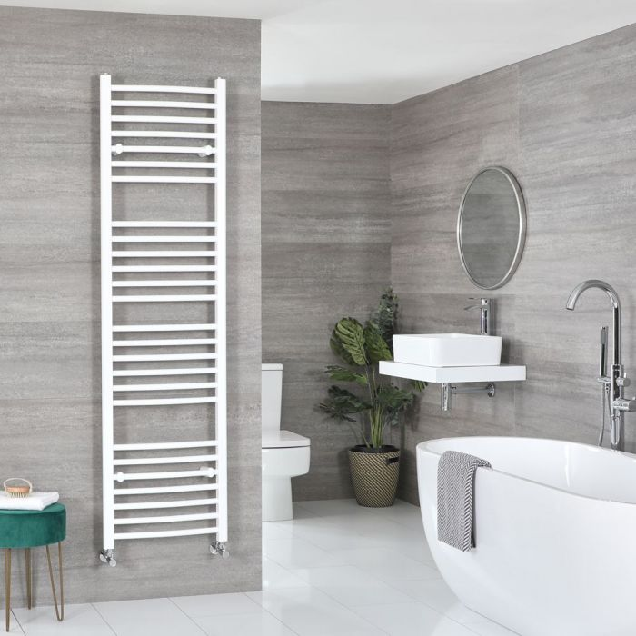 """Ive - White Hydronic Curved Towel Warmer - 70 7/8"""" x 19 5/8"""""""