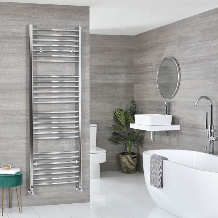 """Kent - Chrome Hydronic Curved Towel Warmer – 70 7/8"""" x 23 5/8"""""""