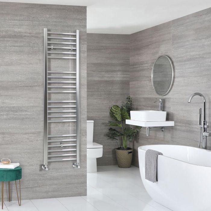 "Kent - Chrome Hydronic Flat Towel Warmer – 63"" x 15 3/4"""