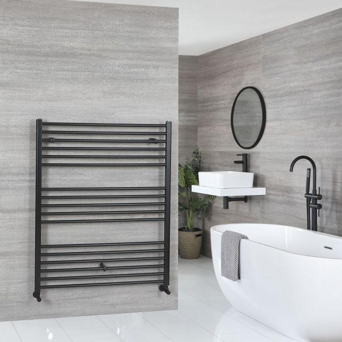 """Nox - Matt Black Hydronic Flat Towel Warmer - 47 1/4"""" x 39 3/8"""""""