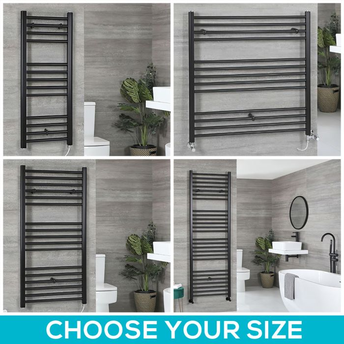 Nox Electric - Matt Black Flat Towel Warmer - Choice of Size