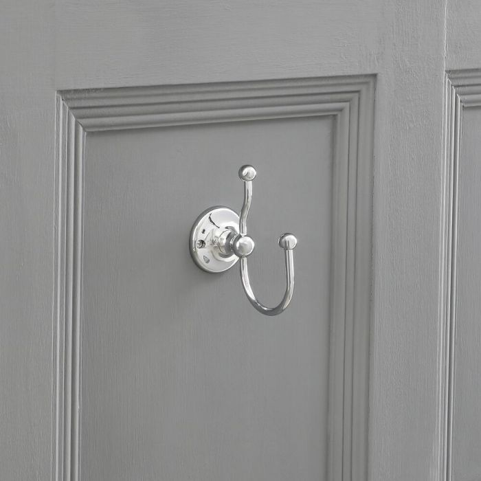 Double Robe Hook in Chrome Finish