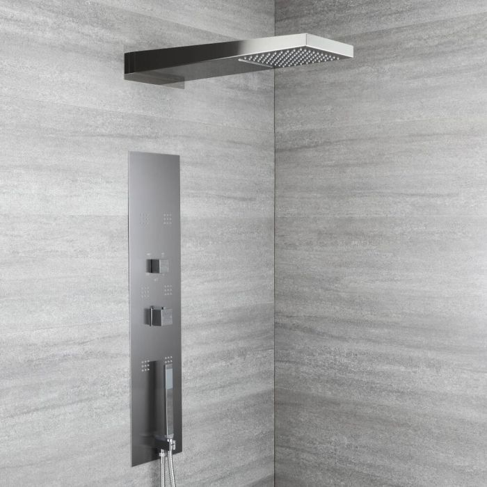 Interval Concealed Thermostatic Shower Panel with Waterfall Head