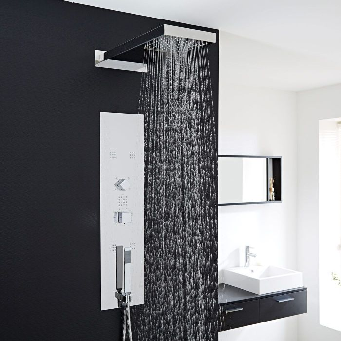 Interval Chrome Concealed Thermostatic Shower Panel with Waterfall Head