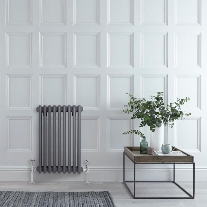 "Regent - Anthracite Horizontal 3-Column Traditional Cast-Iron Style Radiator - 23.5"" x 16"""