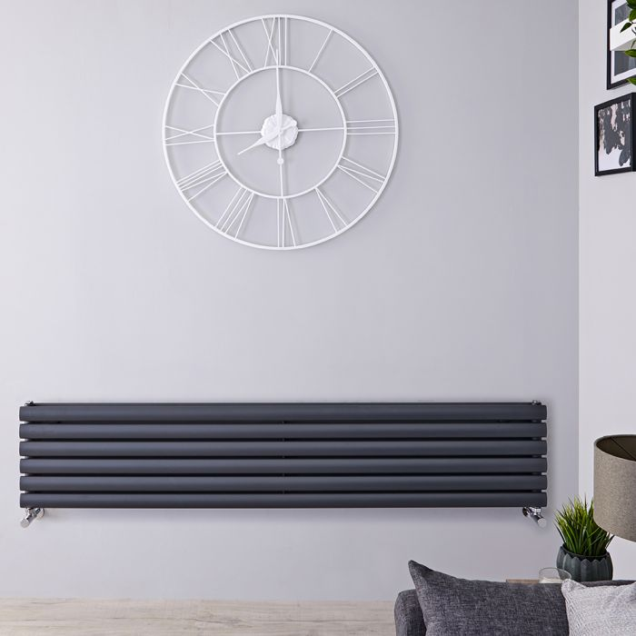 "Revive - Anthracite Horizontal Double-Panel Designer Radiator - 14"" x 63"""
