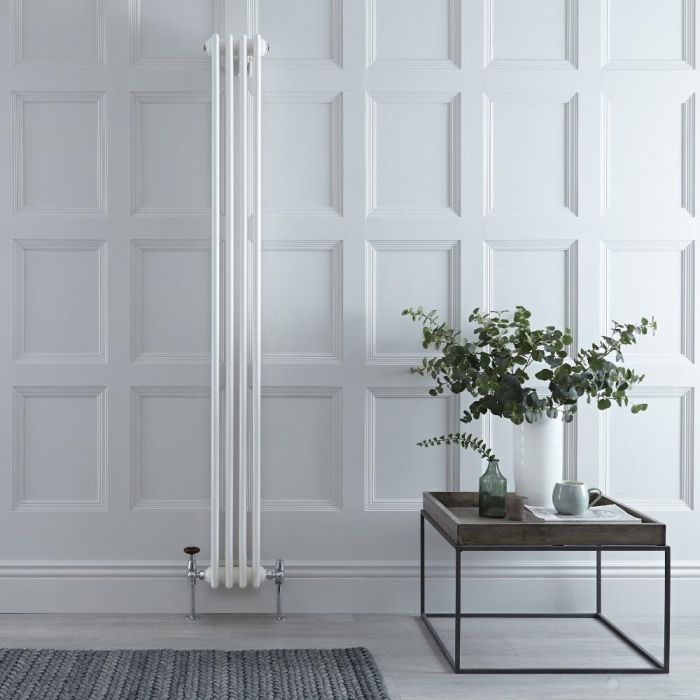 "Regent - White Vertical 3-Column Traditional Cast-Iron Style Radiator - 70.75"" x 8"""