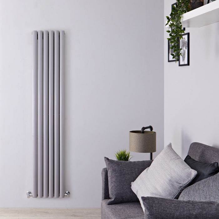"Revive - Silver Vertical Double-Panel Designer Radiator - 70.75"" x 14"""