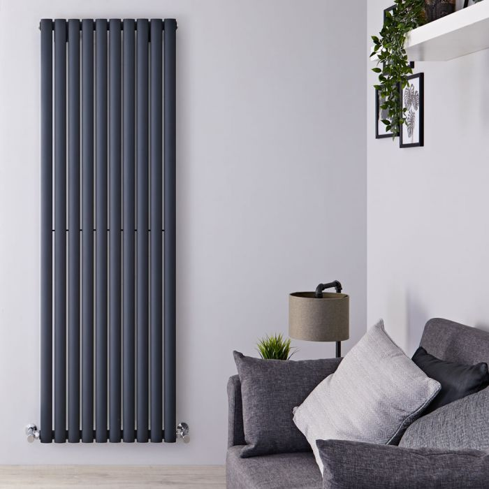 "Revive Air - Anthracite Aluminum Vertical Double-Panel Designer Radiator - 70.75"" x 23.25"""