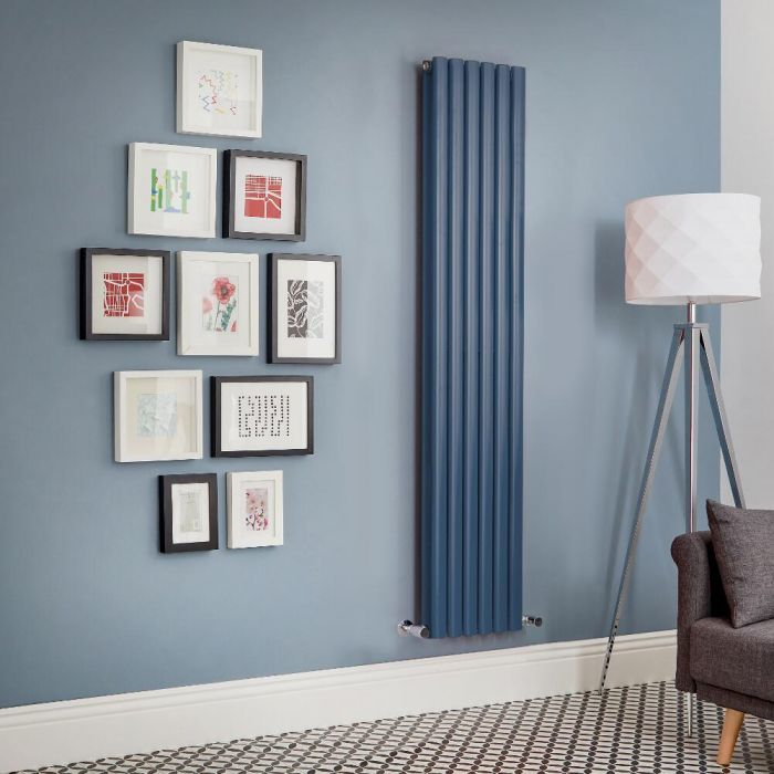 Revive - Dark Blue Vertical Double-Panel Designer Radiator - All Sizes