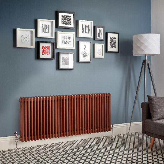 Regent - Metallic Copper Horizontal 3-Column Traditional Cast-Iron Style Radiator - All Sizes
