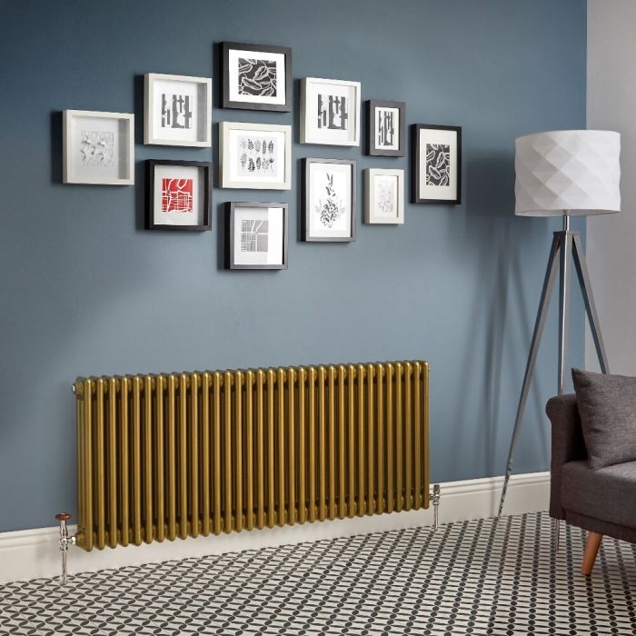 Regent - Metallic Gold Horizontal 3-Column Traditional Cast-Iron Style Radiator - All Sizes