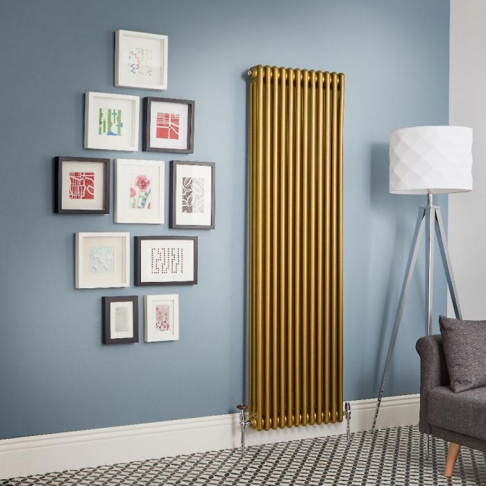 Regent - Metallic Gold Vertical 3-Column Traditional Cast-Iron Style Radiator - All Sizes