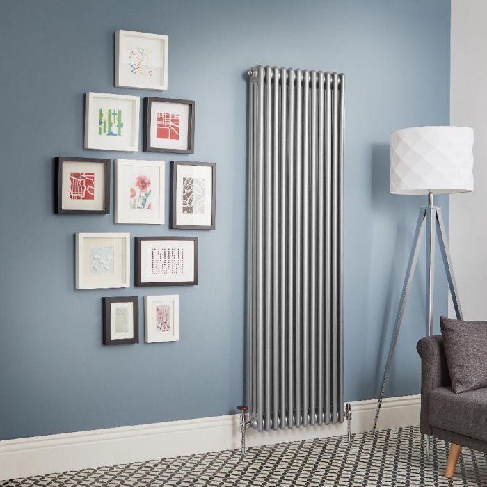 Regent - Metallic Silver Vertical 3-Column Traditional Cast-Iron Style Radiator - All Sizes