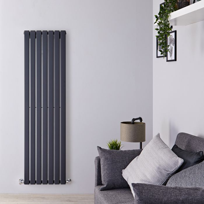 "Delta - Anthracite Vertical Single Slim-Panel Designer Radiator - 63"" x 19.25"""