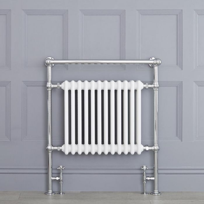 """Marquis - White Traditional Heated Towel Warmer with Shelf - 36.75"""" x 31.25"""""""
