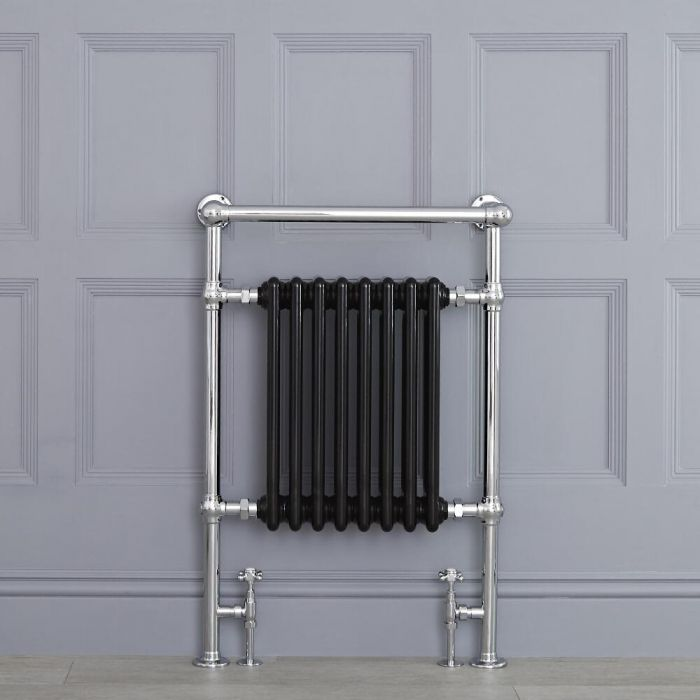 "Marquis - Black Traditional Heated Towel Warmer with Shelf - 36.75"" x 24.5"""