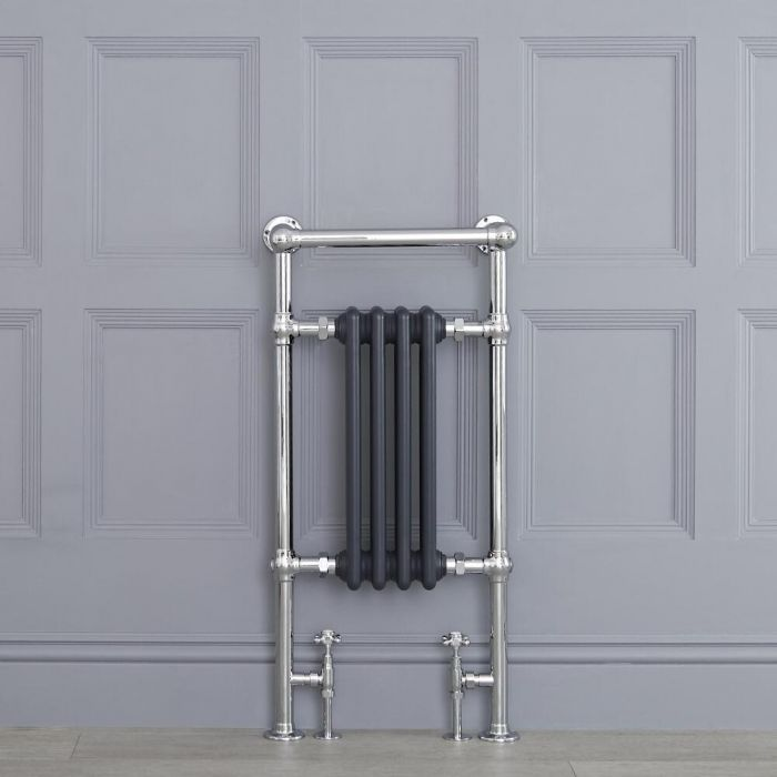 """Marquis - Anthracite Traditional Heated Towel Warmer with Shelf - 36.75"""" x 17.75"""""""