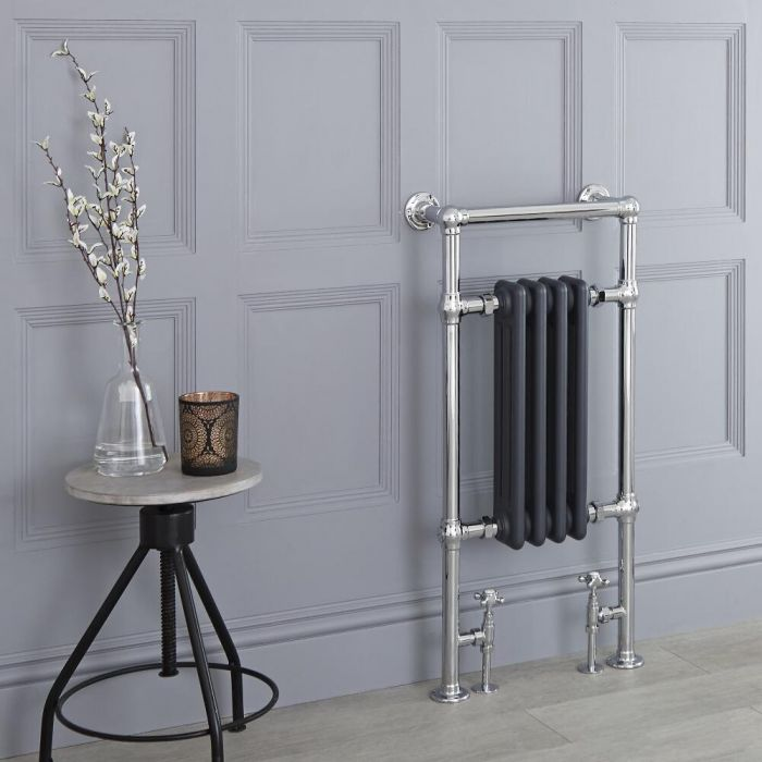 "Marquis - Anthracite Traditional Heated Towel Warmer - 36.75"" x 17.75"""