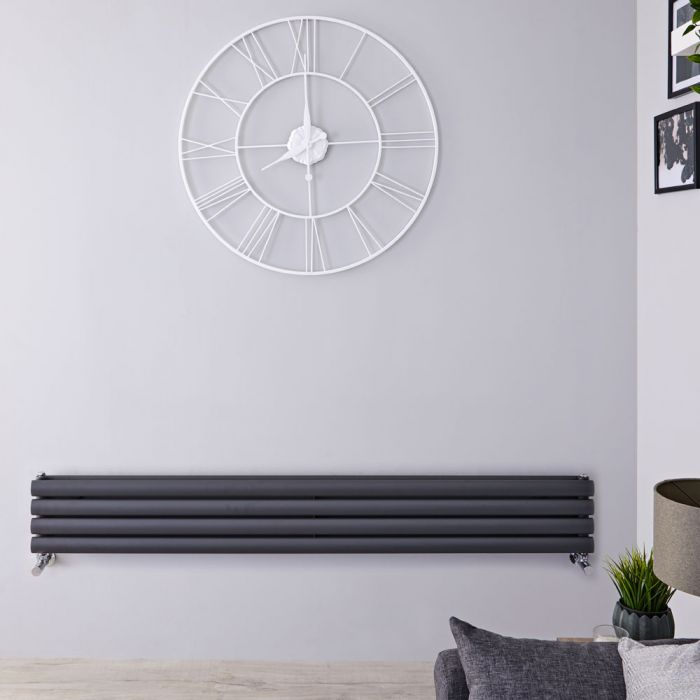 "Revive - Anthracite Horizontal Double-Panel Designer Radiator - 9.25"" x 70"""