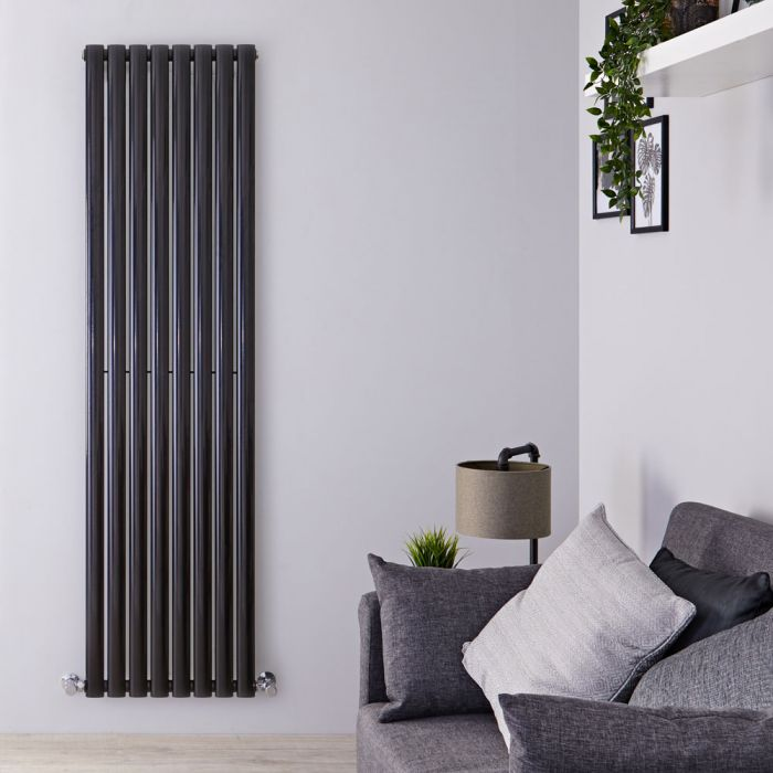 "Revive - Black Vertical Single-Panel Designer Radiator - 70"" x 18.5"""