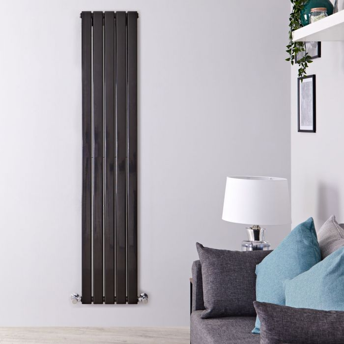 "Delta - Black Vertical Double Slim-Panel Designer Radiator - 70"" x 13.75"""