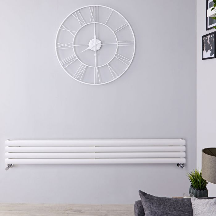 "Revive - White Horizontal Double-Panel Designer Radiator - 9.25"" x 70"""