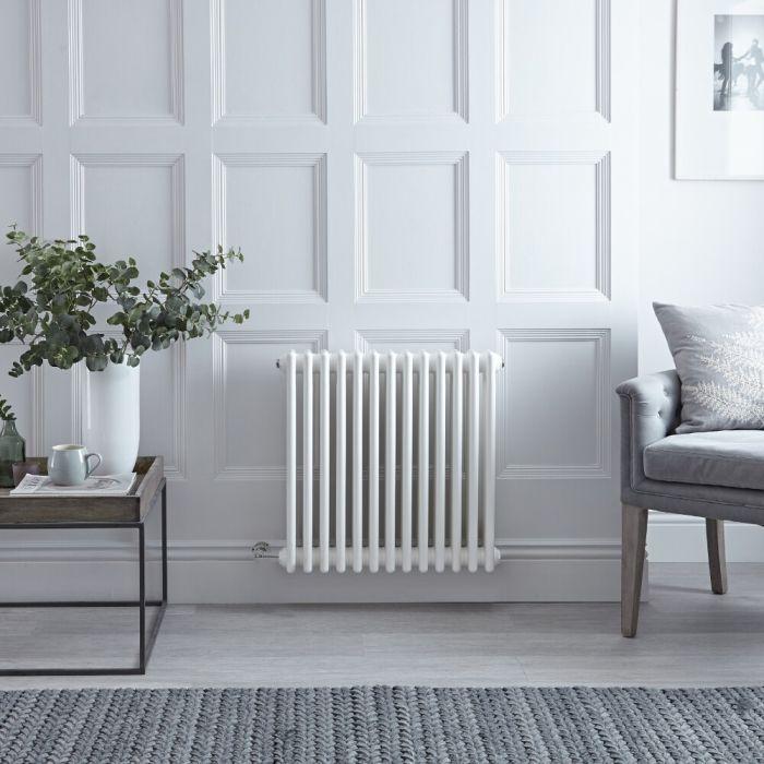 "Regent Electric - White Horizontal 3-Column Traditional Cast-Iron Style Radiator - 23.5"" x 24"""