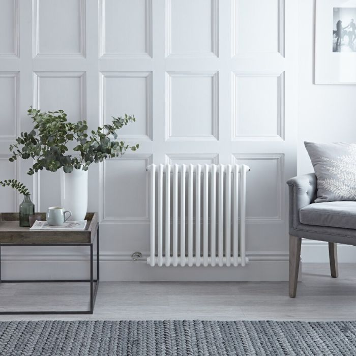 "Regent Electric - White Horizontal 2-Column Traditional Cast-Iron Style Radiator - 23.5"" x 24"""