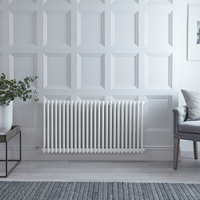 "Regent Electric - White Horizontal 2-Column Traditional Cast-Iron Style Radiator - 23.5"" x 47"""