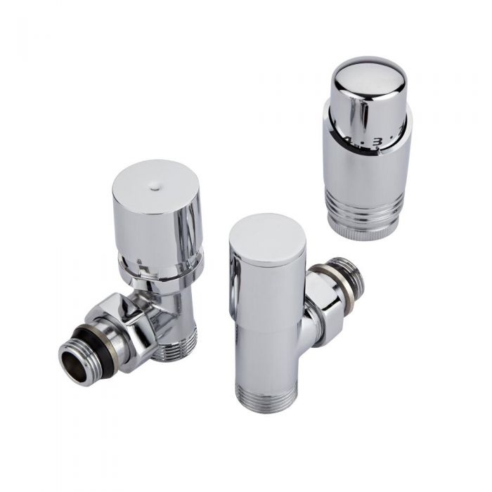 Hudson Reed Minimalist Chrome Thermostatic Angled Radiator Valves (Pair)