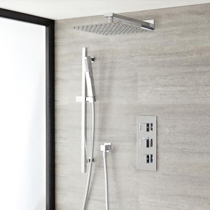 """Kubix Thermostatic Chrome Shower System with Wall Mount 12"""" Shower Head and Slide Rail Kit"""