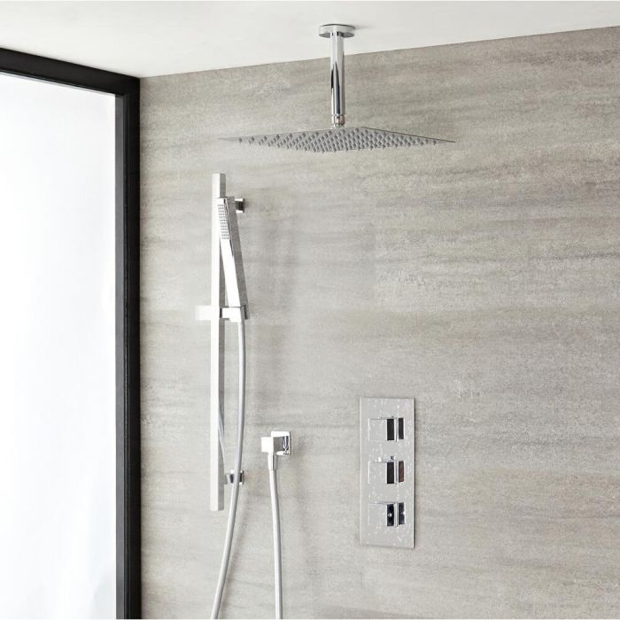 """Kubix Thermostatic Chrome Shower System with Ceiling Mount 12"""" Shower Head and Slide Rail Kit"""