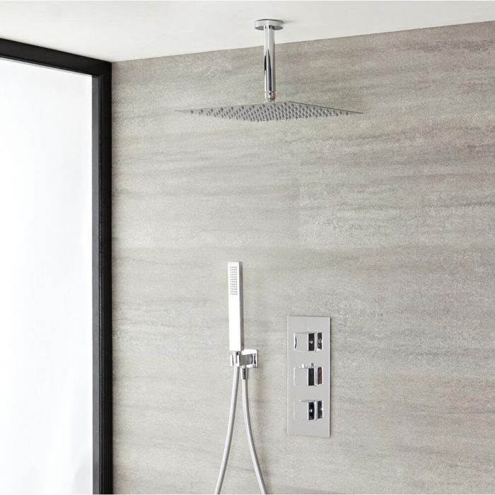 "Kubix Thermostatic Chrome Shower System with Ceiling Mount 12"" Shower Head and Hand Shower"