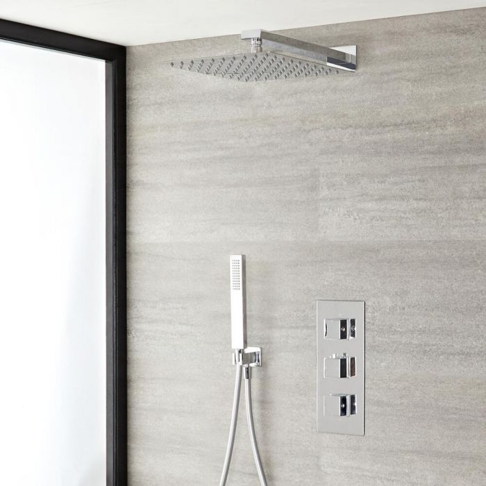 """Kubix Thermostatic Chrome Shower System with Wall Mount 12"""" Shower Head and Hand Shower"""