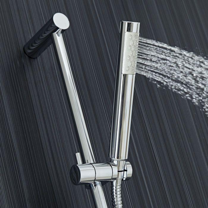 Tec Chrome Plated Minimalist Shower Sliding Bar Kit and Handset