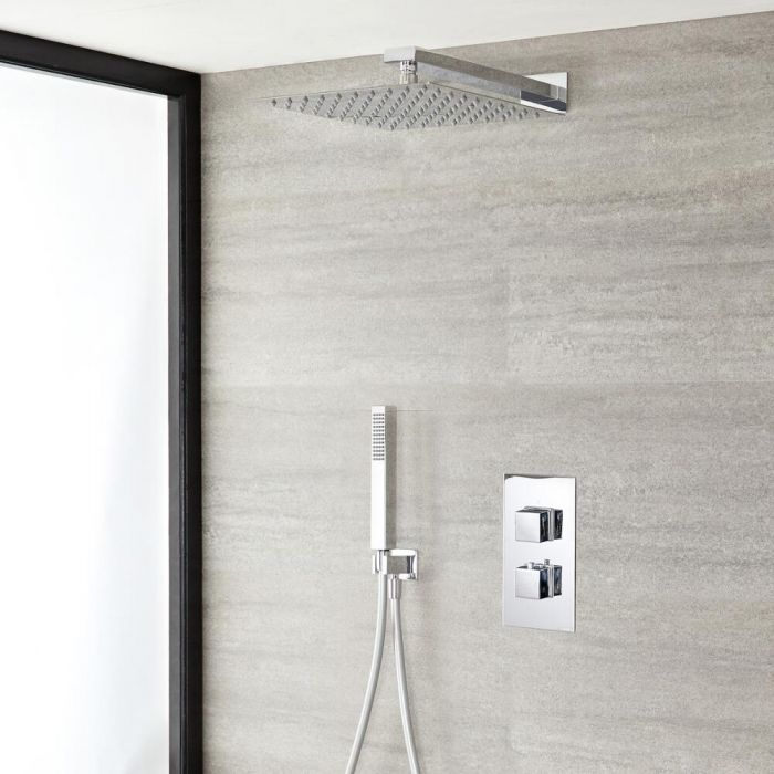 "Kubix Thermostatic Chrome Shower System with Wall Mount 12"" Square Shower Head and Hand Shower"