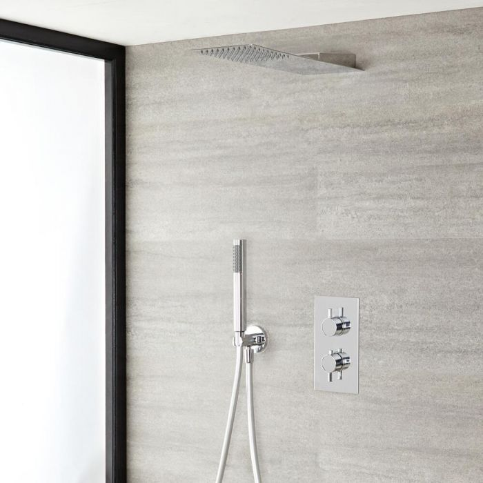 Quest Thermostatic Chrome Shower System with Ultra Slim Shower Head and Hand Shower