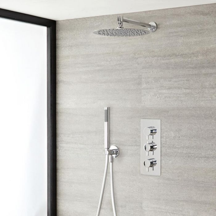 """Quest Thermostatic Chrome Shower System with Wall Mount 12"""" Round Shower Head and Hand Shower"""